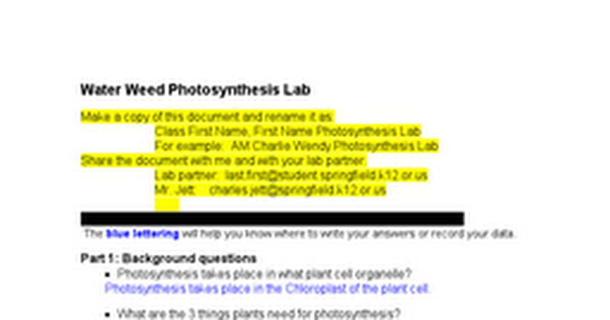 Photosynthesis Simulation Inquiry Example 6 Google Docs