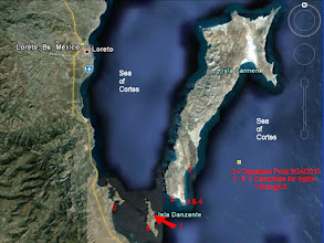 Photo: We flew into Loreto on March 23, 2010. We departed the next day south of Loreto where the red 0 is. Our first campsite was at the red 1 on the east side of Isla Danzante. Second night was spent where the red 2 is on the east side of Isla Carmen. We spent nights 3 and 4 at a campsite on the southeastern tip of Carmen. Fifth night was on southwest end of Carmen. Last campsite was on west side of Danzante. In total, we paddled a  straight-line distance of 34+ miles.
