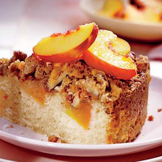 Fresh Peach Coffee Cake with Pecan Streusel.