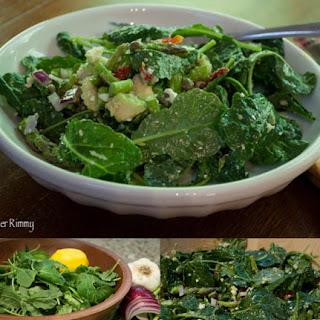 Asparagus Salad with Kale, Sun Dried Tomato, Avocado and Feta Cheese.