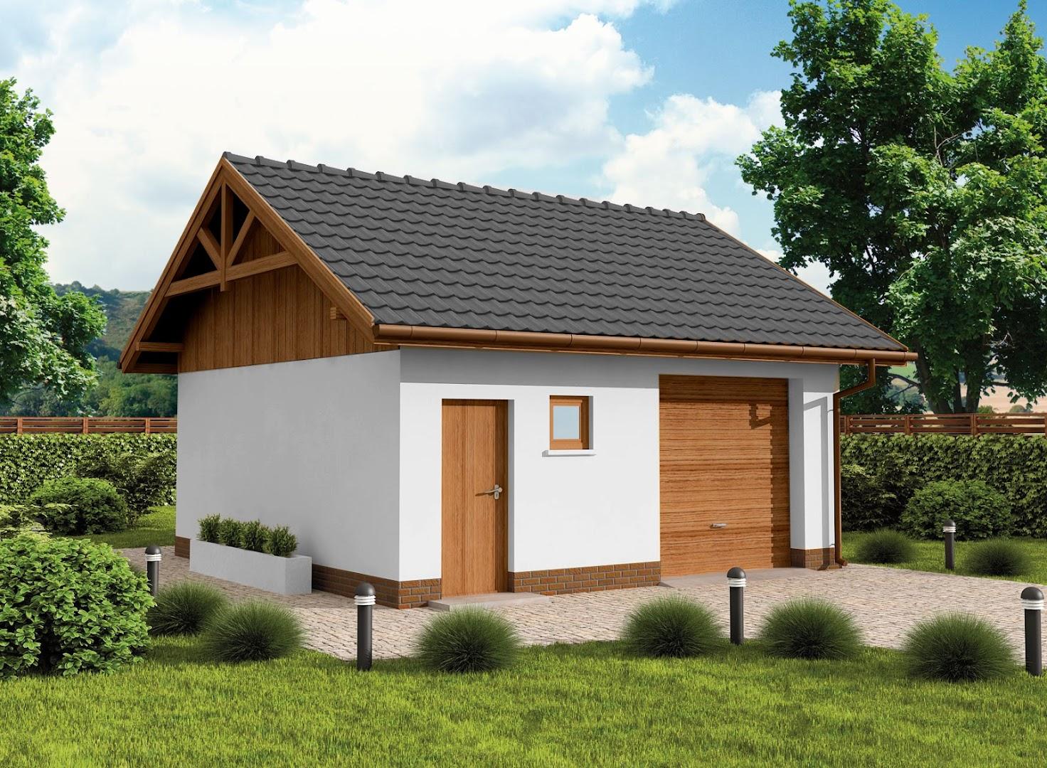 Projekt Garażu G73b Szkielet Drewniany Garaż Jednostanowiskowy Z