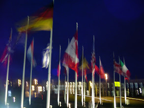 Photo: Now outside near sunset, and the illuminated flags of the nations.