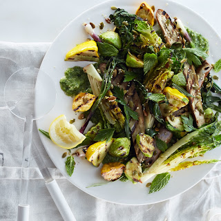 Grilled Vegetable Salad with Raw Green Mole.
