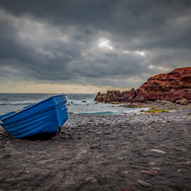Lanzarote by Hana Kroky - Landscapes Waterscapes ( ocean, blue, waterscape, sunset, clouds, boat,  )