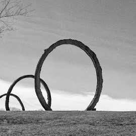 3 Rings Outside by Harvey Lindenbaum - Black & White Buildings & Architecture ( sculpture, north carolina museum of art )