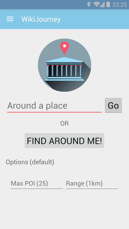 WikiJourney app- screenshot