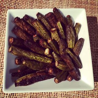 Roasted Okra Chips (Low FODMAP, vegan)