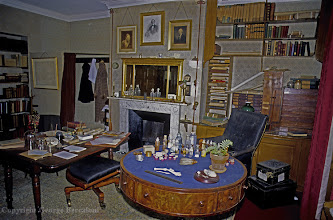 Photo: Charles Darwin's study in Down House, Downe, Kent, where he wrote the 'Origin of Species'. Copyright George Beccaloni