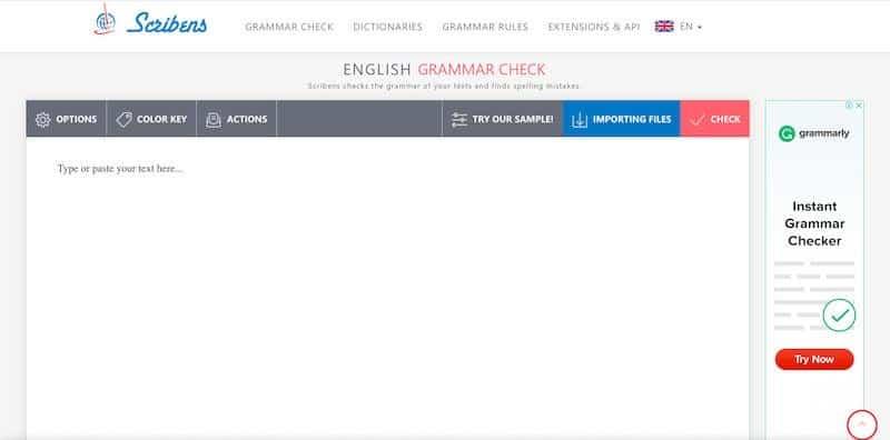Scribens - gauge grammatical errors