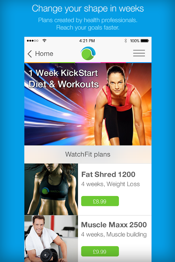 WatchFit diet & workout plans- screenshot
