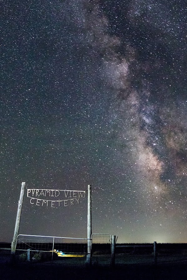 Pyramid View Cemetery by Jim Talbert - Landscapes Starscapes ( night photography, stars, cemetery, kansas, night sky, starscape, milky way )