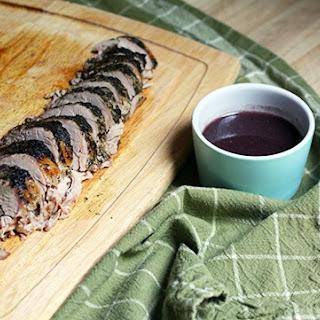 Rosemary-Mint Pork Tenderloin with Blueberry Sauce.