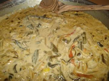 Creamed Mexican Roasted Poblano Strips/Rajas Poblanas en Crema
