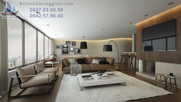 Thiết kế nội thất phòng khách ấm cúng và ngọt ngào