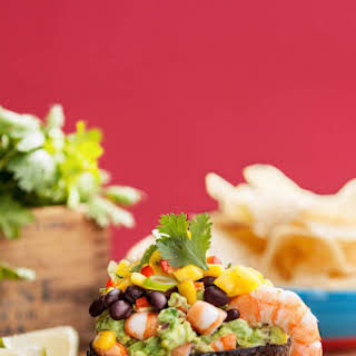 Gluten Free Shrimp Taco Dip with Guacamole, Mango and Mexican Bean Salad.