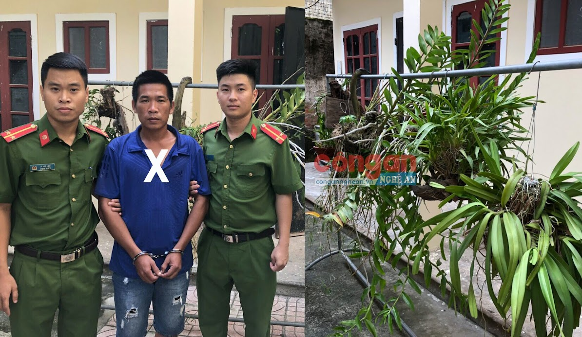 Đối tượng Bùi Quang Trung (X) bị lực lượng công an bắt giữ cùng tang vật