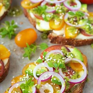 Tomato, Avocado and Fresh Mozzarella Tartines