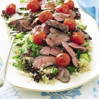 Tomato Balsamic Lamb With Quinoa Salad.