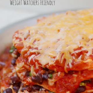Weight Watchers Friendly Stacked Chicken Enchiladas.
