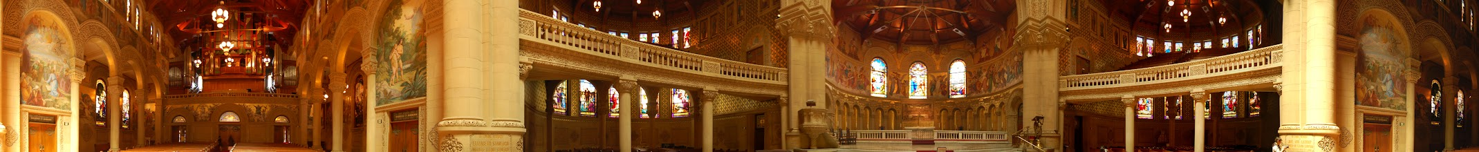 Photo: Requirement 5 (interior panorama): The inside of Memorial Church on a sunny afternoon. The rich gold hues stand out in the natural daylight, and the stained glass windows provide nice details of color. The panorama captures a 360-degree view of the interior of the church, but it doesn't really show the grandeur and depth of the nave and aisles. Shot at f/4.0, 1/2 sec because, despite the sunlight, the church was still quite dark. Relatively short focal length to capture a wider field of view. Post-processing: Photomerged in Photoshop, then cropped.