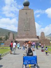 Photo: Sheila straddling the equator