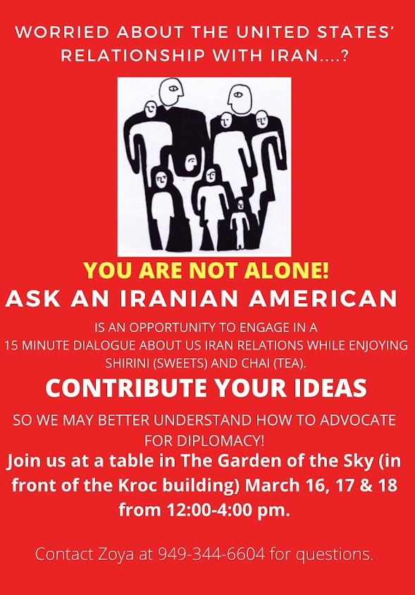 Ask an Iranian, KIPJ Garden of the Sky from Mach 16-18 from 12-4pm