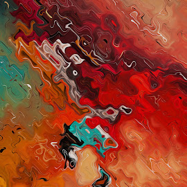 Frog on fire by Fabio Levy - Illustration Abstract & Patterns ( red, orange, art, frog, abstract art, abstracts, digital painting, paint, abstract )