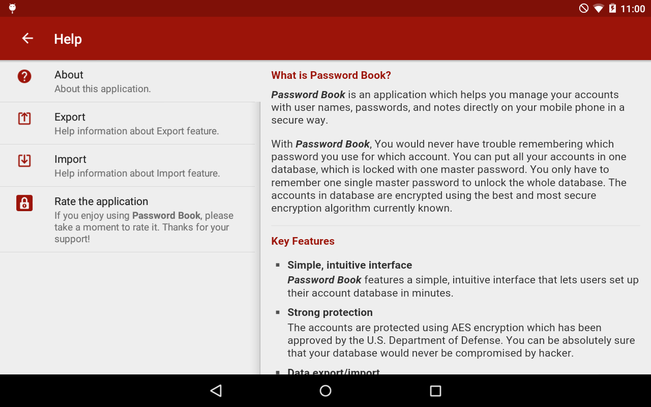 Password Book for Tablet - screenshot