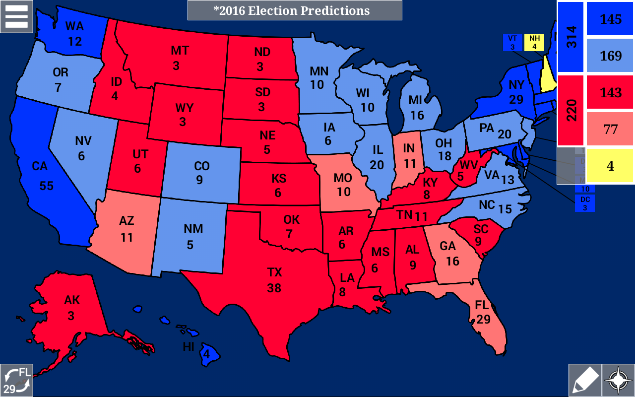 Us Election Map - Us map with electoral votes 2016