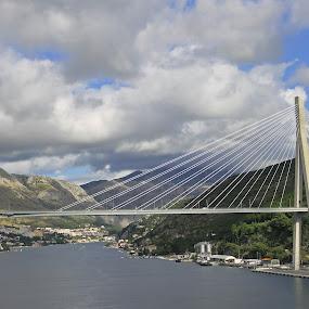 Franjo Tudman Bridge by Tony Murtagh - Buildings & Architecture Bridges & Suspended Structures ( clouds, water, adriatic, cable-stayed, dubrovnik, croatia, bridge,  )