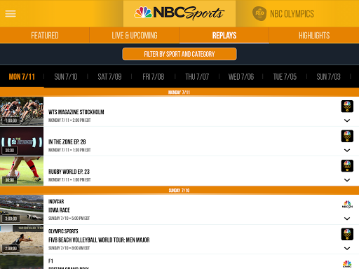 NBC Sports app (apk) free download for Android/PC/Windows screenshot