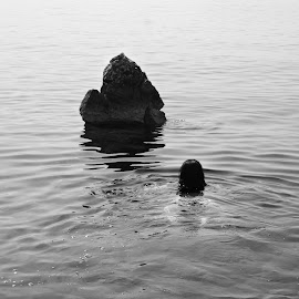 Twosome by Gabriela Jozić - Black & White Landscapes ( black and white, woman, composition, sea, rock, swimming )