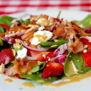 Strawberry Spinach Goat Cheese Salad with Easy Honey Dijon Dressing.