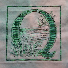 Photo: Completed 8 May 2010. Black & White by Dessins DHC. Stitched on 32ct a Solo Mini Lugana from Silkweaver using Weeks Dye Works Carribean. Stitch count: 100w x 100h.