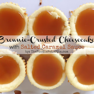 National Cream Cheese Brownie Day | Cheesecake with Salted Caramel Sauce