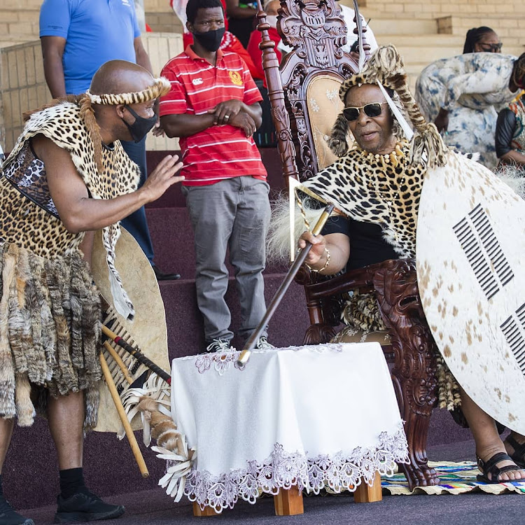 KwaZulu-Natal premier Sihle Zikalala greets King Goodwill Zwelithini at the annual Umkhozi we Lembe event at the eNyokeni royal house on Thursday.