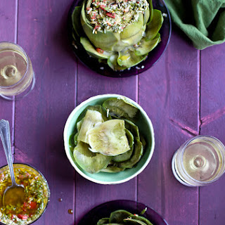 Steamed Artichoke topped with Italian Style Tomato Salsa Verde
