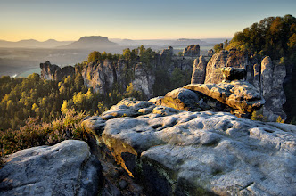 Photo: It was a very nice weekend in Saxony :) Sunny morning, but only 1°C. View over Bastei Rocks.  Technique details: Nikkor 10-24mm @ 18mm with Lee .9 GND Soft + Lee .6 GND Soft filters stacked in a Foundation Holder., ISO100, f/8, 1/8 sec.  #PlusPhotoExtract My contribution for daily theme #MountainMonday curated by +Michael Russell