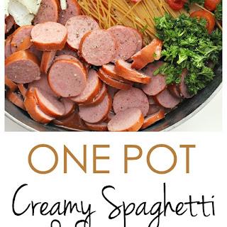 One Pot Creamy Spaghetti and Sausage.