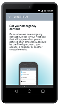"Nest app ""Set your emergency contact"" screen"