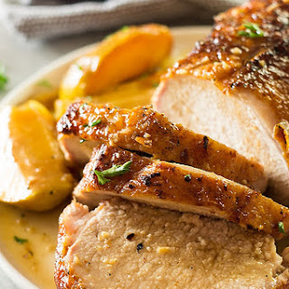 Maple Pork Loin with Apples and Onions.