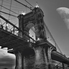 Lunar Escape. by Jim Dawson - Novices Only Street & Candid ( #moon #cincinnati #night-photography #john a.roebling #bridge )