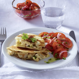 Chicken Quesadillas with Tomato Salad