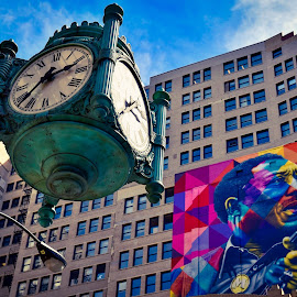 Time & music  by Nelida Dot - Buildings & Architecture Architectural Detail ( building, clock, colors, poster, chicago, architecture )
