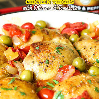 Pan Fried Chicken Thighs with Olives and Tomatoes.