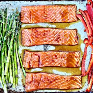 Sheet Pan Salmon with Sweet Chili Sauce.