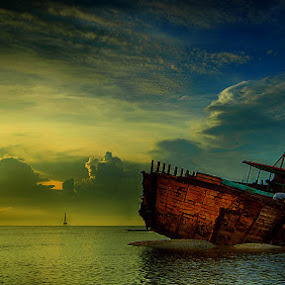 Cracking boat in the dark clouds by Sam Moshavi - Transportation Boats ( boats )