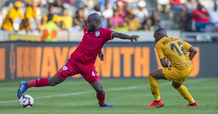 Makhehleni Makhaula of Free State Stars and George Maluleka of Kaizer Chiefs during the Absa Premiership match between Kaizer Chiefs and Free State Stars at Mbombela Stadium on May 04, 2019 in Nelspruit, South Africa.