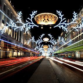 Christmas Buses by DJ Cockburn - Public Holidays Christmas ( lights, winter, london, street, christmas lights, christmas, night, road, regent street,  )