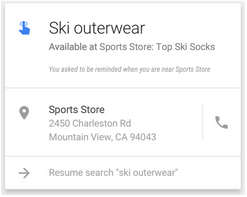Example of a Google Now card